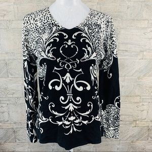 A La Carte Sequined animal/floral print sweater